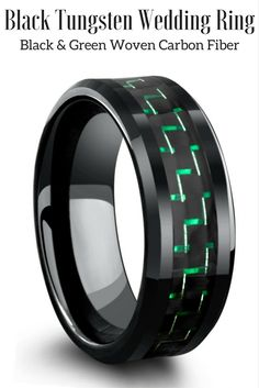 Mens black tungsten wedding ring with green and black woven carbon fiber. This makes such a unique mens wedding ring. I love the green and black carbon. He will love this ring!