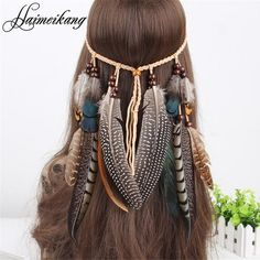 Indian Bead Hair Feather Headband for Women - Just Wonderfully Made, boho, summer  fashion,