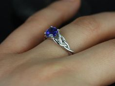 Cassidy 14kt White Gold Round Blue Sapphire Celtic Knot Engagement Ring (Other Metals and Stone Options Available)