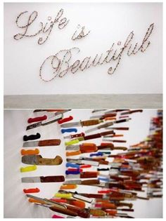 I think this suits me: Knife typography - Farhad Moshiri's installation 'Life is Beautiful' Illustrations, Illustration Art, Art Nouveau, Typography Design, Lettering, Knife Art, Diy Décoration, Akita, Life Is Beautiful