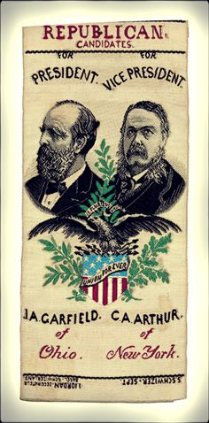 The 1880 presidential election saw Ohioan James A. Garfield and his running mate, Chester A. Arthur, defeat Civil War General Winfield Scott Hancock and William Hayden English. Arthur would become president in 1881, following the assassination of Garfield. Garfield & Arthur campaign ribbon from Heritage Auctions (HA.com)