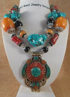 Chunky Statement Necklace Set  Howlite Turquoise by Outwestjewelry