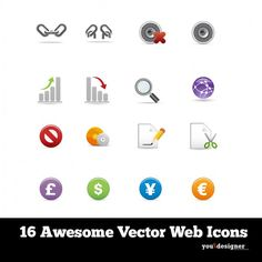 16 Web Applications Icon Set