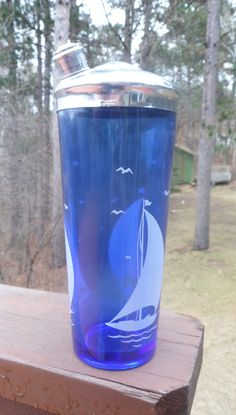 Hazel atlas Cobalt Blue Glass Sailboat Liqueur by btckreiner, $62.99