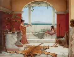 John William Godward >> 'The Sweet Siesta of a Summer Day'  |  (Oil, artwork, reproduction, copy, painting).