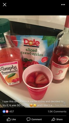 Pink moscato, raspberry lemonade, frozen strawberries. DELISH. Party Drinks, Cocktail Drinks, Fun Drinks, Yummy Drinks, Cocktail Recipes, Cocktails, Yummy Food, Summer Drink Recipes, Holiday Drinks