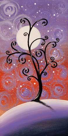"""quadro fiabesco """"alberelli""""   cm 15x30   dipinto a mano da Max e Elena Panizza   www.panizza.info"""