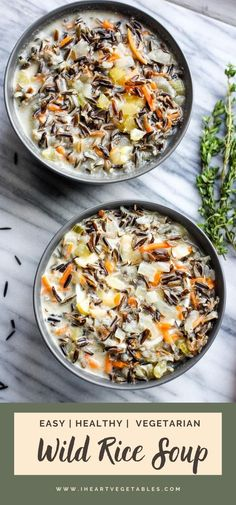 This Minnesota Wild Rice Soup is creamy and delicious with a rich broth and hearty wild rice. Perfect for a chilly winter evening! This vegetarian soup recipe will be a weeknight dinner favorite!