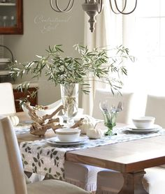 Elegant table setting in white and green. ♥ the olive tree branches. By @Centsational Girl