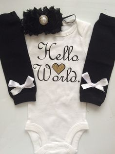 NEWBORN Baby Girl outfit -Coming home outfit - Newborn baby clothes - go home outfit - newborn girl- Hello World- Preemie outfit-