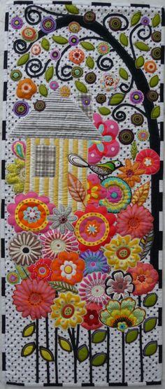 applique birdhouse quilt - so pretty