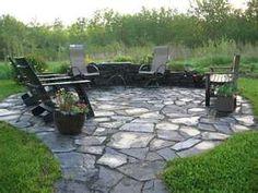 Superior Image Detail For  Virginia Slate Patio With Small Retaining Wall.
