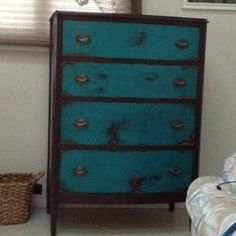 turquoise and black Refinished dresser - bookcase in turq?  I want something turquoise in the house!!!!