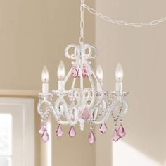 Crystal Scroll White and Pink 16 Wide Swag Chandelier Small Chandelier Bedroom, Girls Chandelier, Chandelier Lighting Fixtures, Dining Room Light Fixtures, Chandelier Ideas, Teal Chandeliers, Cheap Chandelier, White Chandelier, Foyer Lighting