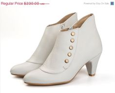 Amy Milk, White Boots, Heels, Leather Boots, Handmade shoes