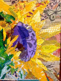 """""""Hello Sunshine"""" a painted paper collage by Texas Artist, Karen Scherrer"""