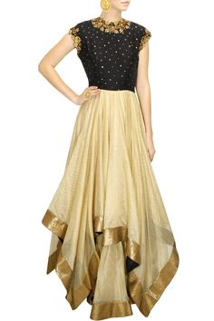DECCAN DREAMS - Black and gold flower embellished triangle hem gown by Pranthi Reddy #new #designer #fashion #couture #shopnow #perniaspopupshop #happyshopping