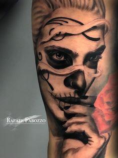 Catrina Tattoo by Rafael Fabozzo Catrina Tattoo, Eagle Tattoos, Color Tattoo, Skull, Portrait, Calavera Tattoo, Mexico Tattoo, La Catrina, Photos