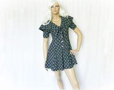 Vintage 90s Romper S Shorts Black Tea Floral at PopFizzVintage, $30.00