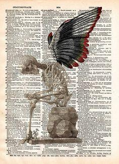 Fallen Angel art, skeleton art print, skeleton wings, dark art