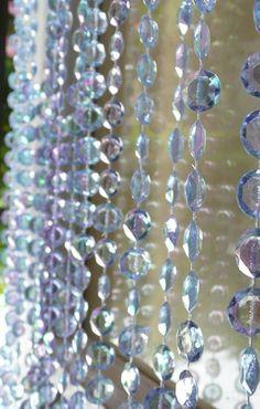 Diamond Cut Beaded Curtain -- Iridescent Ice Blue