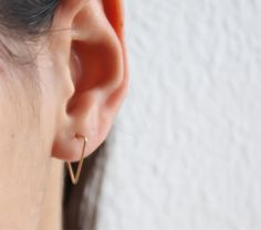 Thin Gold hoops gold line earrings triangle hoop by miniLALI