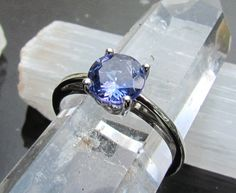 Tanzanite Ring in 14k Gold Scroll Setting by pristinejewelry, $630.00