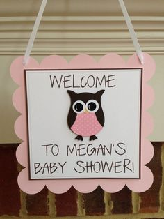 OWL BABY SHOWER Decor Welcome Door Sign done in chevron and elephant theme