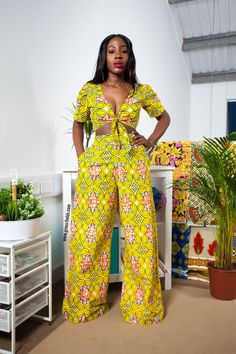Pre Order Fusap African Print Wide Leg Pants(Available July 17th)