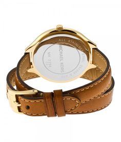 MICHAEL KORS - Runway Champagne Dial Tan Leather Watch for Women ...