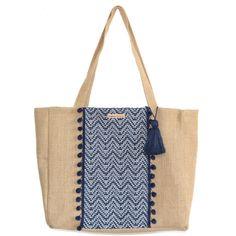 Grand sac cabas en jacquard et toile de jute galon pompon Burlap Bags, Jute Bags, Hessian, Diy Sac, Diy Clutch, Craft Bags, Fabric Bags, Handmade Bags, Diy Bags