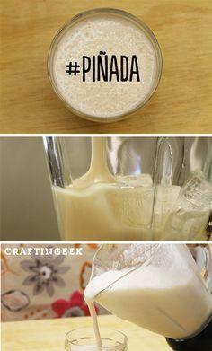 Te enseño la receta de una piñada clásica con crema de coco, para que la hagas y quede súper rica y fresca. #PiñaColada #receta