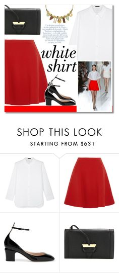 """""""Summer WorkWear"""" by igedesubawa ❤ liked on Polyvore featuring The Row, Miu Miu, Valentino, Loewe, Lizzie Fortunato, whiteshirt, contestentry and WardrobeStaples"""