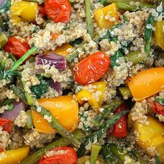 Rainbow Roasted Veggies with Quinoa. Rainbow Roasted Veggies with Quinoa Recipes A beautiful rainbow medley of vegetables roasted to perfection, then combined with nutrient-packed quinoa and a . Vegetable Recipes, Vegetarian Recipes, Cooking Recipes, Healthy Recipes, Healthy Meals, Yummy Recipes, Dinner Recipes, Healthy Grains, Kale Recipes