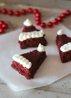 Santa hat red velvet brownies!