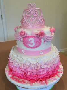 Princess ruffles and roses cake