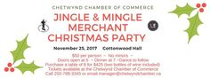 Tickets available until November 19. Also available at the Chetwynd Public library #JingleAndMingle