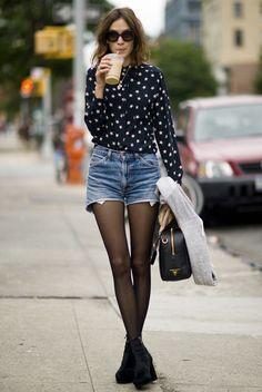 shorts + tights + blouse