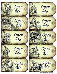 Alice in Wonderland Christmas, Birthday, Wedding favours 'Open Me' tags x 10 in Home, Furniture & DIY, Celebrations & Occasions, Cards & Stationery | eBay