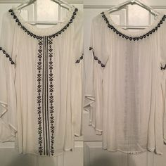 White Alter'd State boho flowy dress Navy blue embroidery. Worn once for a few hours. Can be worn off the shoulder.  *NOT free people, listed as FP because of style* Free People Dresses Long Sleeve
