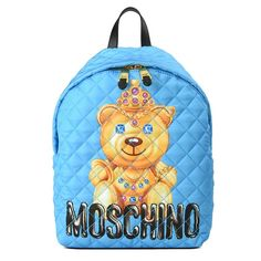 Moschino Crown Teddy Bear Womens Large Techno Fabric Backpack Blue