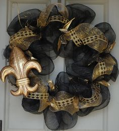 Saints deco wreath