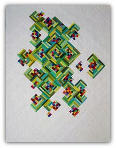 Not Easy Being Green Pieced and quilted by Mary Keasler Chattanooga, TN, United States Quilt Con 2017 40 x 54 inches Use of Negative Space