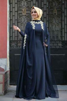 Embroidered blue cape style formal party wear abaya with hijab styles