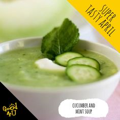 A refreshing Cucumber & Mint Soup Healthy Soup, Healthy Eating, Healthy Recipes, Melon Soup, Honeydew Melon, Fresh Mint Leaves, Fresh Ginger, Food Print, Cucumber