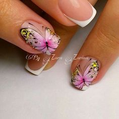 Check it out. Crazy Nail Art, Crazy Nails, Fancy Nails, Pretty Nails, Butterfly Nail Designs, Butterfly Nail Art, Nail Art Designs, Spring Nails, Summer Nails