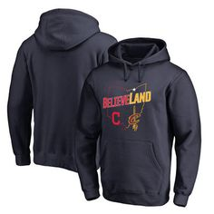 Navy Cleveland Cavaliers & Cleveland Indians Believeland Pullover Hoodie