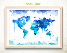 World map watercolor art print poster – World map poster - Travel map poster - World map wall art - World map art print – Home Decor -mf367 by MarcoFriend on Etsy