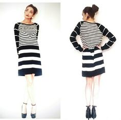 Love Moschino Black and White Heart Sweater Dress The Love Moschino Women?s Knit Heart-Inset Striped Dress, Black/White featuring long sleeves and a slight A-line cut. Stripes are slimming and flattering to every body type. Take on the day in this pretty style. Size 8, but fits a size 4-8. Moschino Dresses