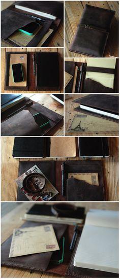 Moleskine cover. Leather cover journal. Large moleskine leather case. Travel journal cover. Travel accessories. Perfect travel gift. MLSK003. $182.00, via Etsy. | OMG! Christmas present de moi-même - à moi-même :)